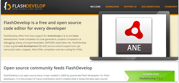 How to use ANE with flashdevelop